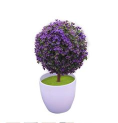Green Mini Artificial Flowers Tree Ball for Home Decor Indoor Ornaments Artificial Potted Plant (Purple) *** Learn more by visiting the image link.