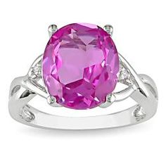 Miadora Sterling Silver Created Pink Sapphire and Diamond Fashion Ring - Created pink sapphire and diamond ring