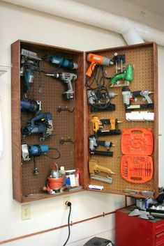 57 smart diy garage storage and organization ideas on a budget 9 Tool Storage Cabinets, Garage Tool Storage, Lumber Storage, Workshop Storage, Garage Tools, Shed Storage, Storage Ideas, Garage Workshop, Woodworking Power Tools