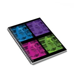 Shopping lists, school notes or poems - 120 page spiral notebook with ruled line paper is a perfect companion in everyday life. Durable printed cover makes owner proud to carry it everywhere.  My original photograph of Chicago's Picasso sculpture is reimagined in bright pink, green,