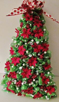 Blingy Deco Mesh Christmas Tree Wreath All by FuNkyStRoKes on Etsy, $55.00