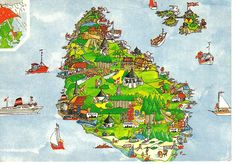 Bornholm Denmark map postcard by paflip25, via Flickr
