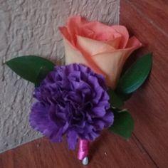 Purple carnation with orange rose, double boutonniere #orangepurpleboutonniere #carnationroseboutonniere #mybouquetlv