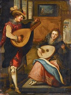 according to Louis de Caullery (1580-1621) - A Lady and a Gentleman Playing Lutes