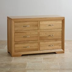 Natural Solid Oak Chest of Drawers - Chest of Drawers - Bevel Range - Oak Furnitureland Oak Furniture Land, Furniture Wax, Solid Wood Furniture, Online Furniture, Bedroom Furniture, Large Sideboard, Oak Sideboard, 6 Drawer Chest, Chest Of Drawers