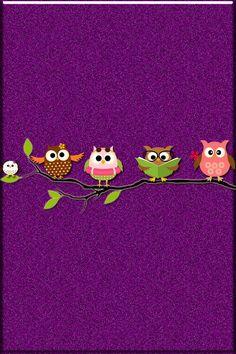Purple glitter owl wallpaper