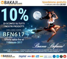Con l'epifania tutte le feste vanno via! Per te subito uno sconto del 10% su tutti i nostri prodotti! Inserisci il codice BFN617 valido fino al 7 Gennaio 2017 >> www.bakaji.com