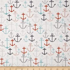 Fabric Freedom I Do Like To Be Beside the Seaside Anchors Turquoise from @fabricdotcom  From Fabric Freedom, this cotton print is perfect for quilting, apparel and home decor accents.  Colors include orange, navy, grey, blue, and white.