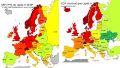 Maps on the Web — Current vs. WW2 GDP in Europe.