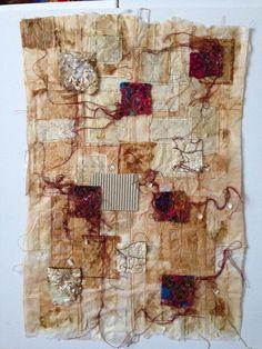 Kim Carter Silk paper, sari silk on teabags.