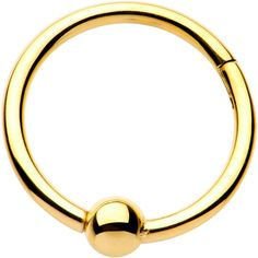 "16 Gauge 3/8"" Gold PVD Hinged Segment Ring Circular Barbell"