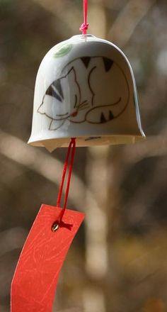 Ceramic Wind Bell - Sleeping Cat