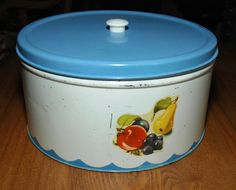 Cottage Kitchen Vintage Metal Cake Cookie Tin by MyHeirloomCharms