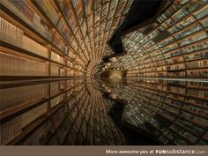 Black mirrored flooring and arched shelves create the appearance of a tunnel of books