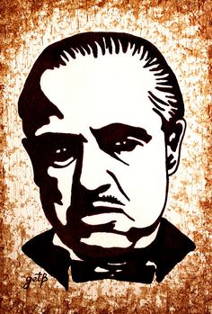 """Marlon Brando in Godfather"" - original coffee painting - Georgeta Blanaru"