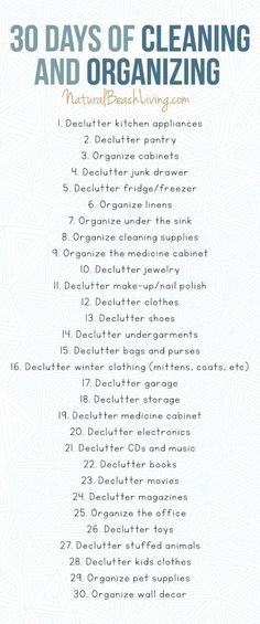 30 Days of Cleaning and Organizing Challenge - Free Printable Declutter Checklist