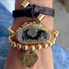 Set By Vila Veloni Gold And Black Leather Bracelets