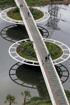 Grüne Brücke in São Paulo, Brasilien