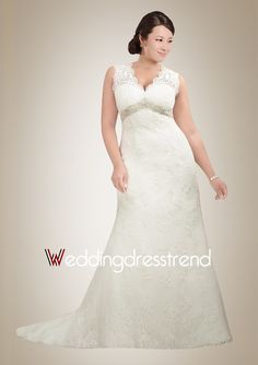 Fashionable A-line V-neck Brush Train Lace Wedding Dress