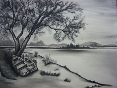 water charcoal drawing