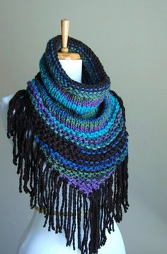 Chunky Knit Fringe Cowl Scarf in Jewel Tones Aqua Green Purple Cobalt