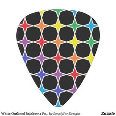 White Outlined Rainbow 4 Point Stars Guitar Pick