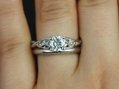 THIS IS THE ONE! :D :D :D  Cassidy & Alexis 14kt White Gold Round FB Moissanite Celtic Knot Wedding set (Other Metals and Stone Options Available)