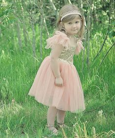 Pink and Gold sequin and tulle flower girl dress