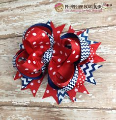 Hey, I found this really awesome Etsy listing at http://www.etsy.com/listing/158550160/navy-chevron-and-red-dots-ott-hair-bow