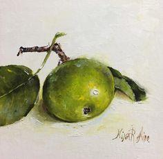 Green Apple Original Oil painting Nina R.Aide by NinaRAideStudio