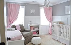Cozy nursery in pink and grey,  soft pallette for a little girl.  This would be perfect for Lilah.