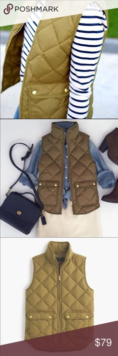 "J. Crew Quilted Down Vest • NWT J. Crew Quilted Down Excursion Vest  • Color: Irish Moss • Length: 24.5"" • 100% Polyester; Filling is 70% Down Feathers, 30% Waterfowl Feathers • Sold out online • Measurements Available Upon Request🔸10% Off Bundles🔸No Trades🔸No PayPal J. Crew Jackets & Coats Vests"