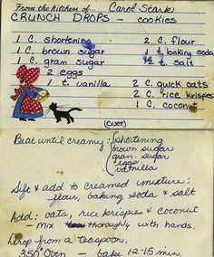 crunch drops -cookies - these sound like what my grandma use to make! I gotta… Retro Recipes, Old Recipes, Vintage Recipes, Cookbook Recipes, Candy Recipes, Sweet Recipes, Cookie Recipes, Family Recipes, Arroz Con Leche