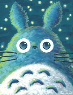 Totoro at Night Large Print 11x14  Acrylic Painting by FuzzyCraft, $18.50