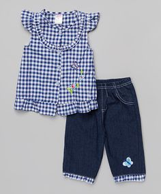 Look at this Blue Gingham Button-Up & Denim Capri Pants - Infant & Toddler on #zulily today!