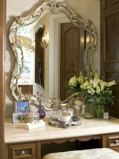 49 Neutral Home Decor That Will Make Your Home Look Cool - Home Decoration Experts Dressing Table Mirror, Dressing Tables, Dressing Area, Bathroom Sink Vanity, Bathroom Cabinets, Vanity Cabinet, Master Bathroom, Beautiful Mirrors, Vintage Vanity
