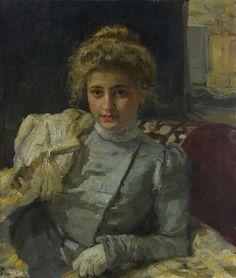 Репин, Илья Ефимович (1844 - 1930) Белокурая женщина (Портрет Tevyashovayi)