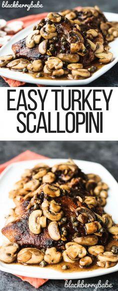 Easy Turkey Scallopini   Turkey Breast Recipe   Easy Scallopini Recipe   Turkey Cutlet Recipe   Turkey Mushroom Recipe   Turkey White Wine Sauce   Turkey Chop Recipe   #ad #700reasons