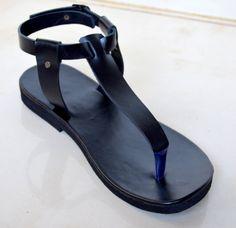 Simple T Bar Leather Sandals Black Handmade Indian Las