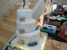 Beach Wedding Cake with edible beach glass