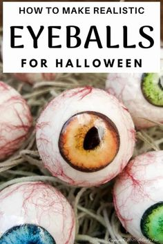 "Up the creepy stakes this Halloween and make these realistic eyeballs. Quick and budget-friendly they'll add just the right spooky factor to your decor. The tutorial includes free ""iris"" printables to use #HalloweenDecor #CreepyEyeballs #ACraftyMix #FreePrintables"