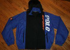 Vintage Polo Sport Ralph Lauren nylon hooded zip windbreaker Jacket Men's Large #PoloSport #Windbreaker