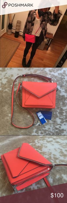 """Rebecca Minkoff Marlowe Mini Envelope Zipper Bag Convertible crossbody clutch bag by Rebecca Minkoff. Only used a few times. Spotless interior. A few minimal creases on the strap from changing the strap length and briefly hanging it on a hook. Beautiful red color with orange undertones. Official color is """"hot orange"""" Rebecca Minkoff Bags Crossbody Bags"""