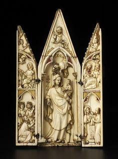 Triptico de marfil,metal y pigmentos,Francia,siglo 14  The Courtauld Gallery London