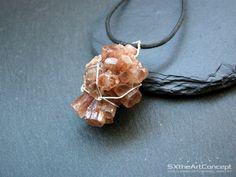 Aragonite cluster pendant, raw wiring specimen, orange long boho necklace, anti-stress gemstone, Capricorn stone, gift for her, men jewelry by SXtheArtConcept on Etsy  #yoga #jewelry #crystalhealing