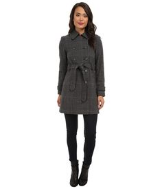LAUREN by Ralph Lauren Prince Of Whales Double Belted Trench (Grey/Black) Women's Coat- HOT TRENCHES   http://www.kikiofdcstyle.com/cute-coats/