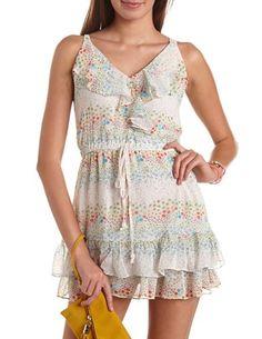 Ruffled Floral Chiffon Dress: Charlotte Russe
