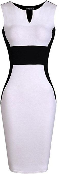 jeansian Women's Sleeveless V-Neck Knee-length Pencil Dress WKD196 White XXS