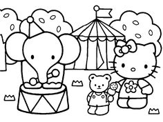And Print Hello Kitty Friends Elephant Circus Coloring Pages