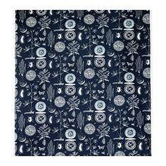 BLÅVINGE tecido a metro, branco, azul Largura: 150 cm Repetição do padrão: 1 cm